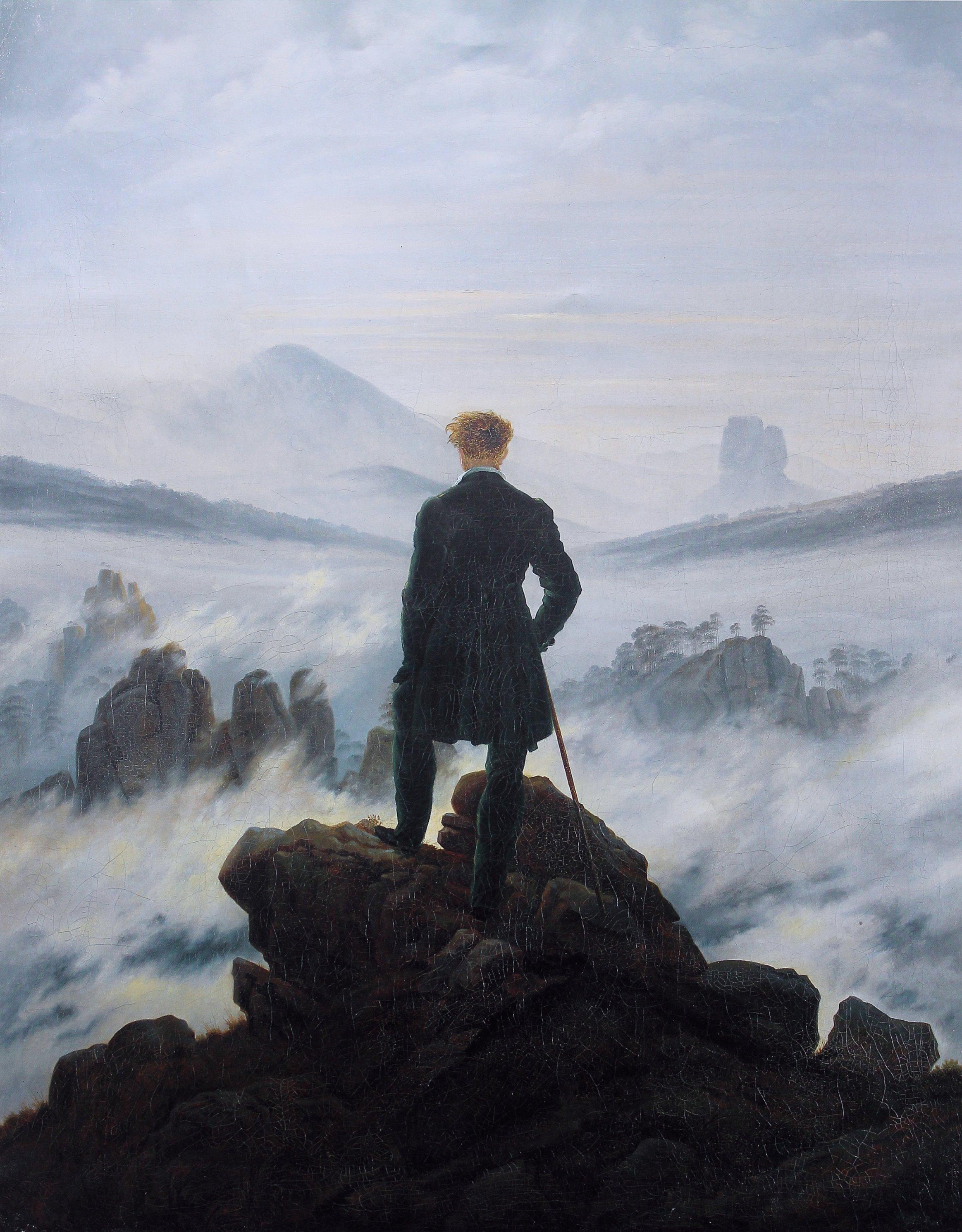 De wandelaar boven de nevelen - Caspar David Friedrich, gemaakt rond 1818